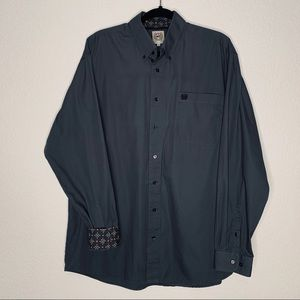 Cinch button down shirt with contrasting trim